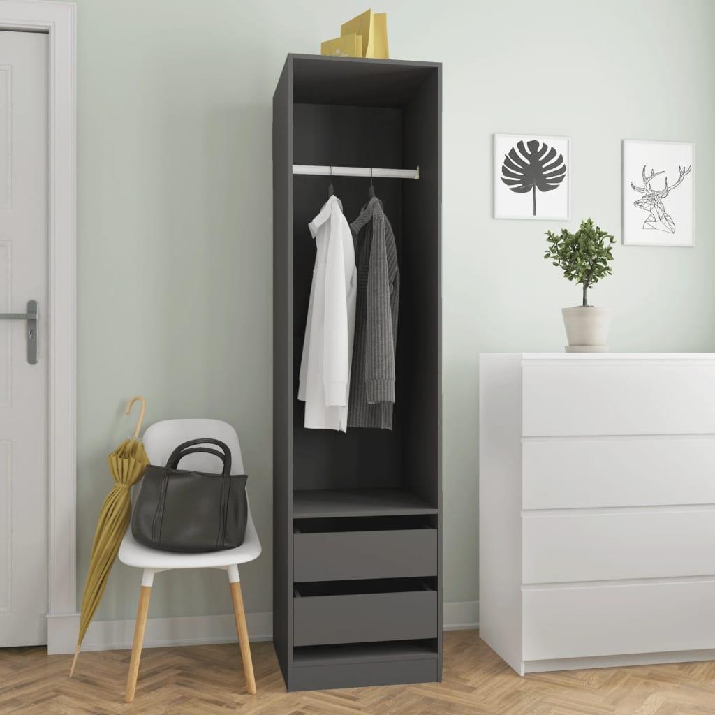 Šatní skříň se zásuvkami šedá 50 x 50 x 200 cm dřevotříska