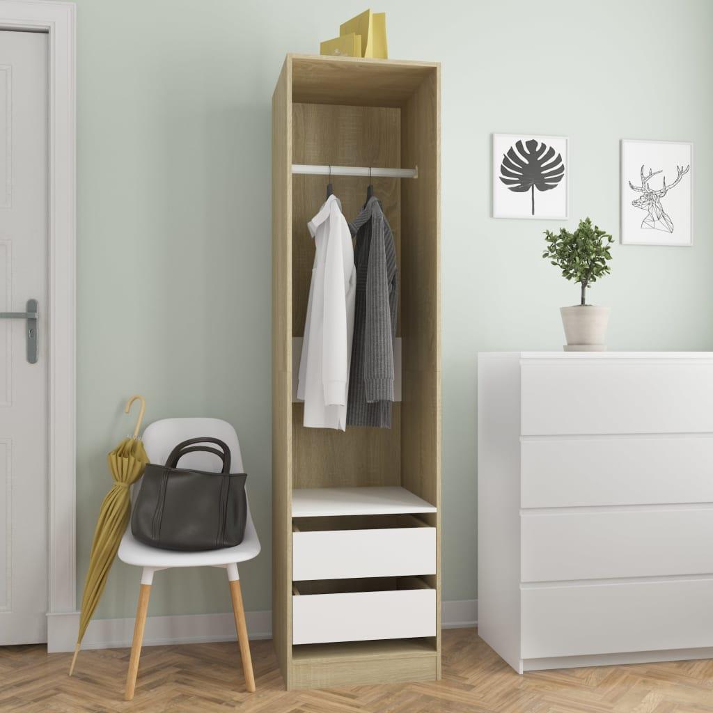 Šatní skříň se zásuvkami bílá a sonoma 50x50x200 cm dřevotříska
