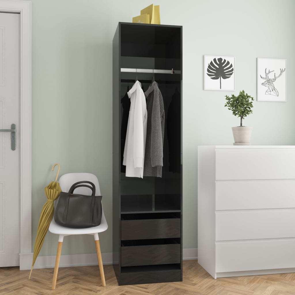 vidaXL Șifonier cu sertare, negru foarte lucios, 50 x 50 x 200 cm, PAL poza 2021 vidaXL