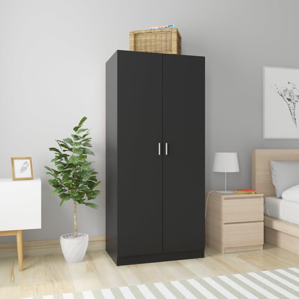 vidaXL Șifonier, negru, 80 x 52 x 180 cm, PAL vidaxl.ro
