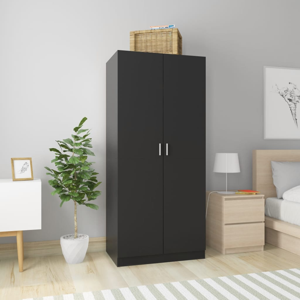 vidaXL Șifonier, negru, 80 x 52 x 180 cm, PAL poza 2021 vidaXL