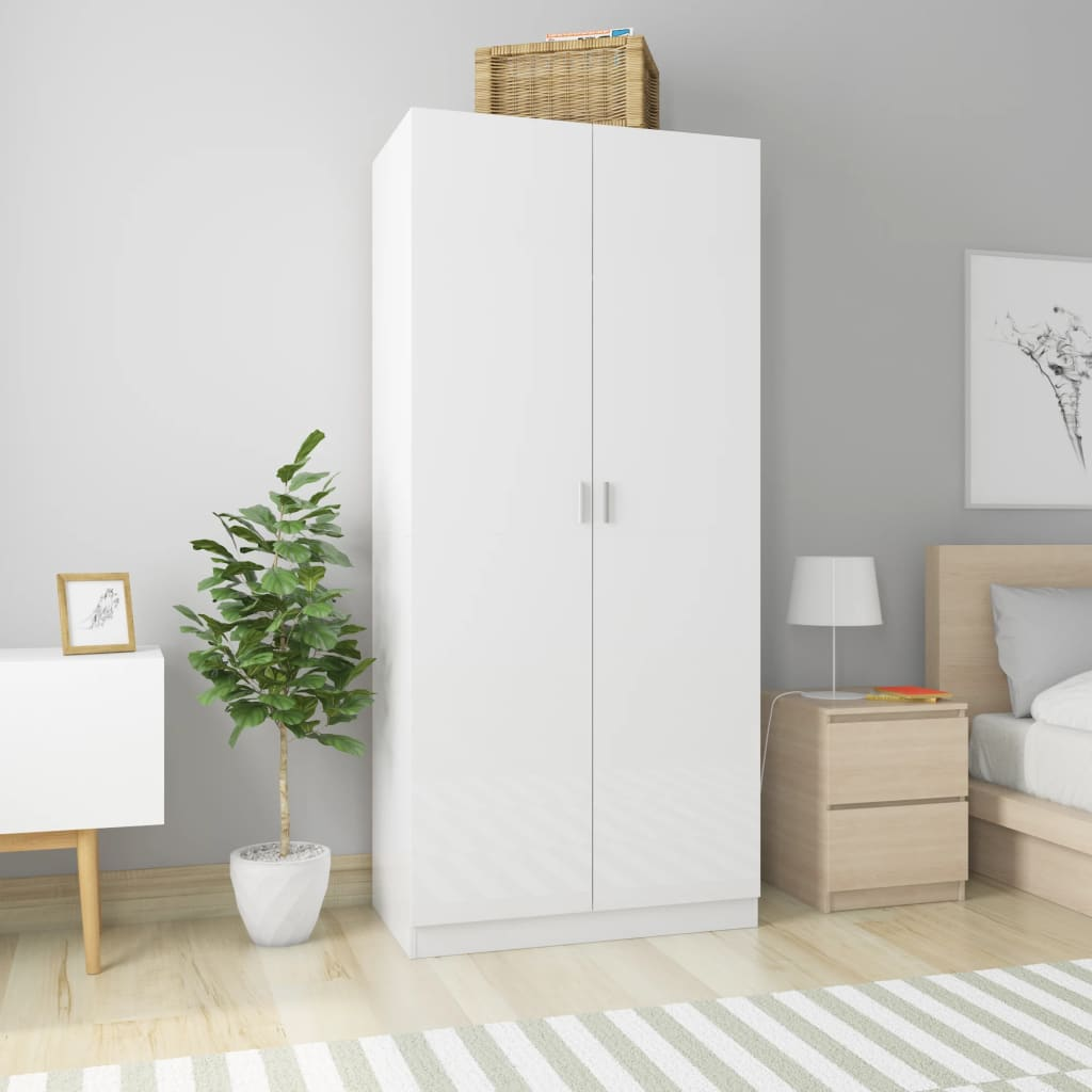 vidaXL Șifonier, alb extralucios, 90 x 52 x 200 cm, PAL poza 2021 vidaXL