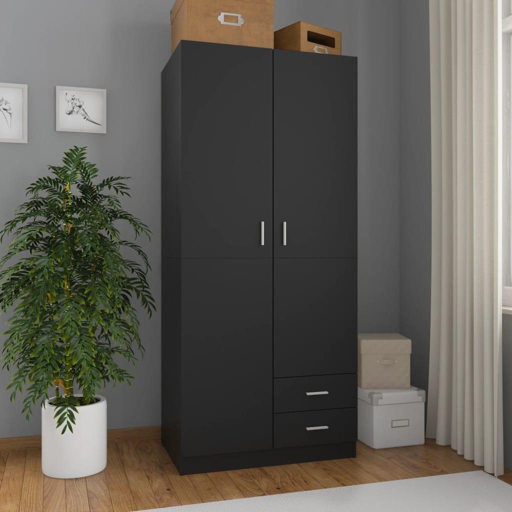 vidaXL Șifonier, negru, 80x52x180 cm, PAL vidaxl.ro