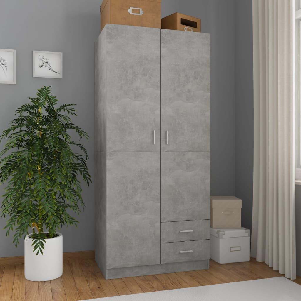 vidaXL Șifonier, gri beton, 80 x 52 x 180 cm, PAL vidaxl.ro