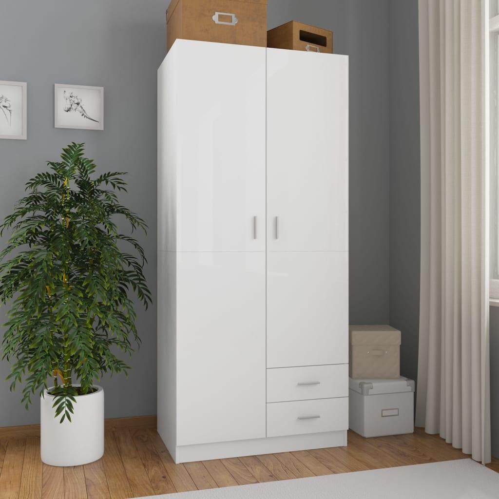 vidaXL Șifonier, alb extralucios, 80x52x180 cm, PAL vidaxl.ro