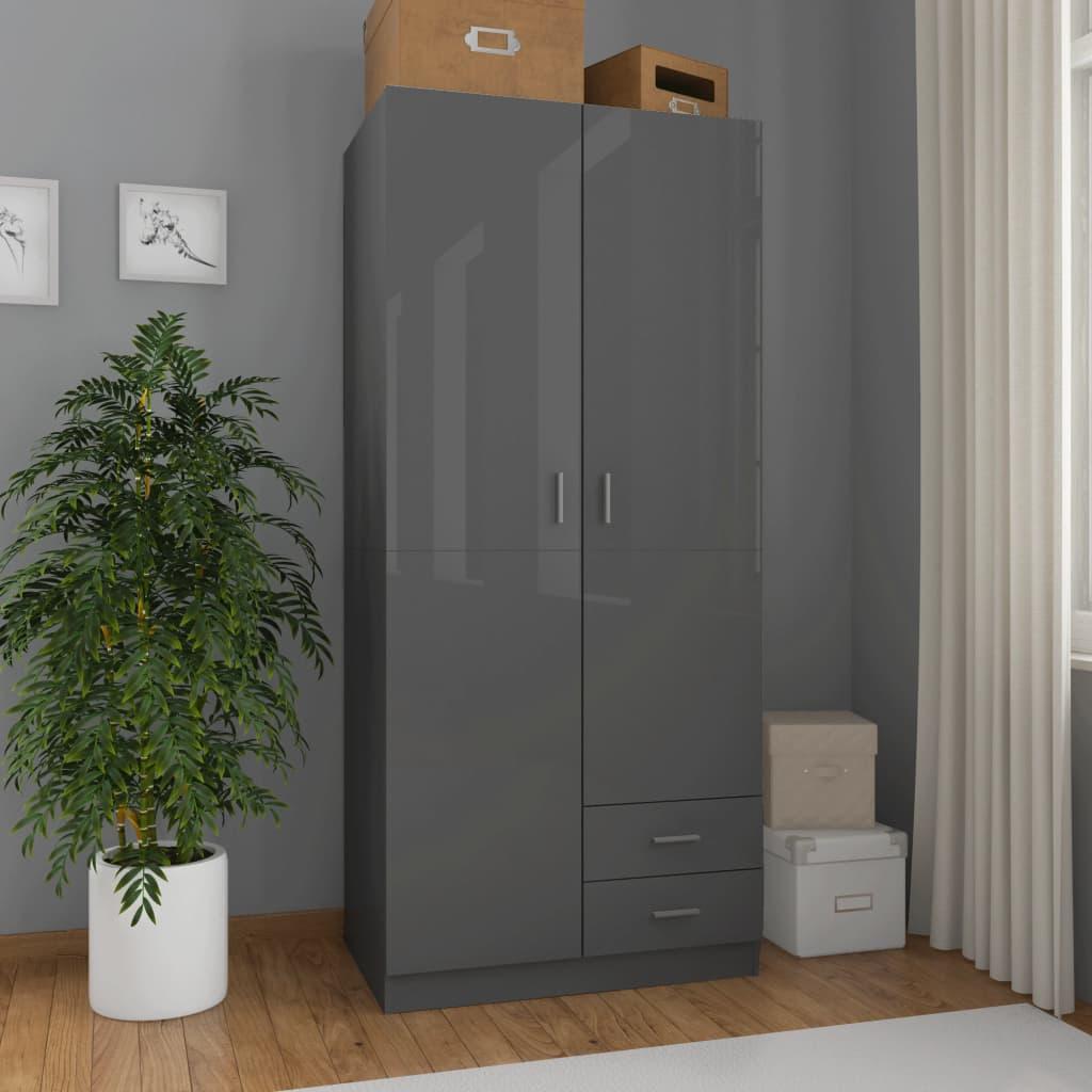 Garderoob kõrgläikega hall 80 x 52 x 180 cm pui..