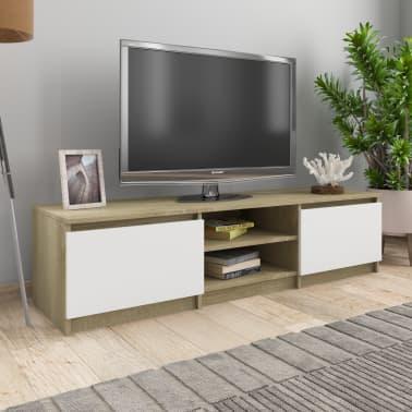 Vidaxl Tv Schrank Weiss Und Sonoma Eiche 140x40x35 5 Cm Spanplatte