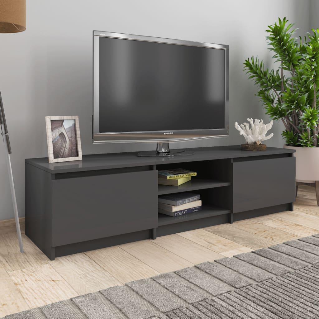 vidaXL Comodă TV, gri extralucios, 140 x 40 x 35,5 cm, PAL vidaxl.ro