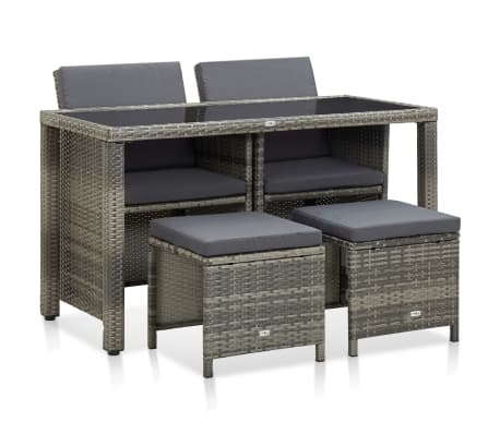 vidaXL 5 Piece Outdoor Dining Set with Cushions Poly Rattan Gray