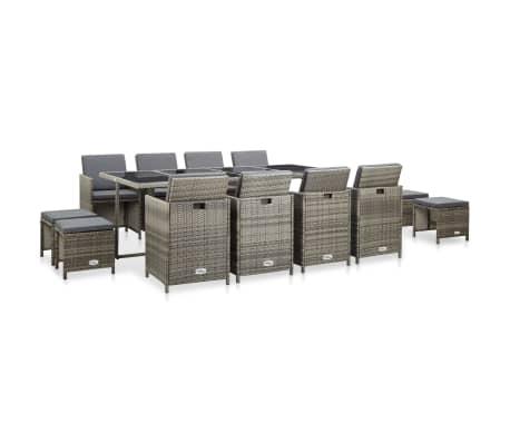 vidaXL udendørs spisebordssæt 13 dele med hynder polyrattan grå