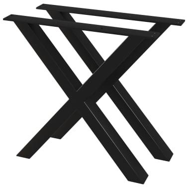 vidaXL Pieds de table de salle à manger 2 pcs Cadre en X 80x72 cm[1/4]