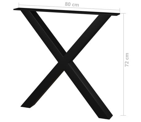 vidaXL Pieds de table de salle à manger 2 pcs Cadre en X 80x72 cm[4/4]