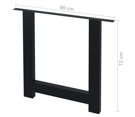 vidaXL Pieds de table de salle à manger 2 pcs Cadre en H 80x72 cm[4/4]