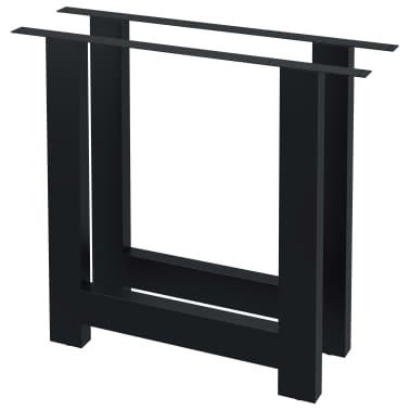 vidaXL Pieds de table de salle à manger 2 pcs Cadre en H 80x72 cm[2/4]