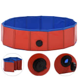 "vidaXL Foldable Dog Swimming Pool Red 31.5""x7.9"" PVC"