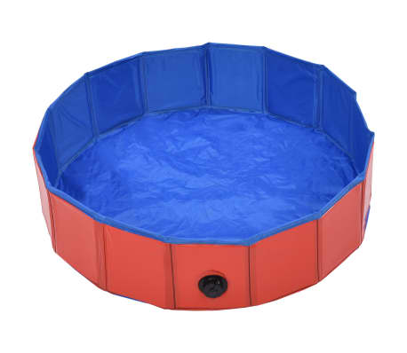 vidaXL Piscine pliable pour chiens Rouge 80x20 cm PVC[3/9]