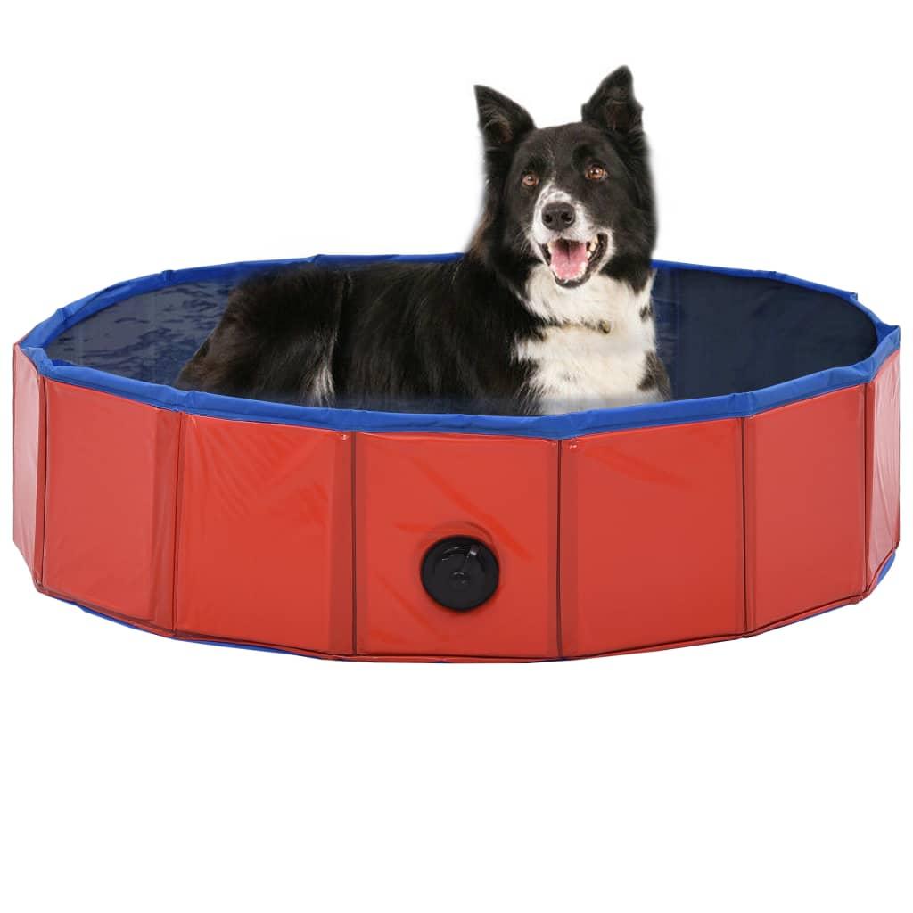 Skládací bazén pro psy červený 80 x 20 cm PVC