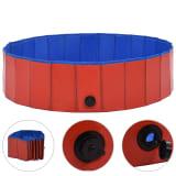 vidaXL Piscină pentru câini pliabilă, roșu, 120 x 30 cm, PVC
