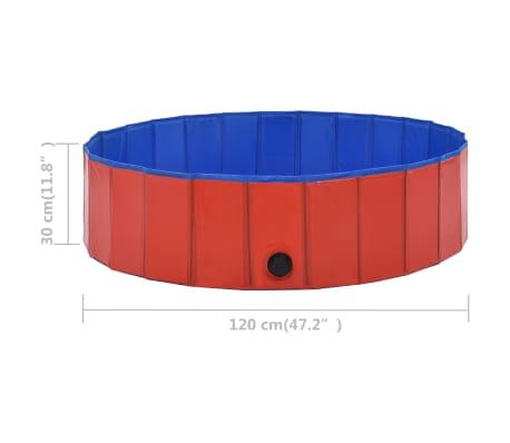 vidaXL Piscine pliable pour chiens Rouge 120x30 cm PVC[9/9]