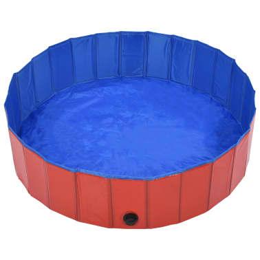 vidaXL Piscine pliable pour chiens Rouge 120x30 cm PVC[3/9]