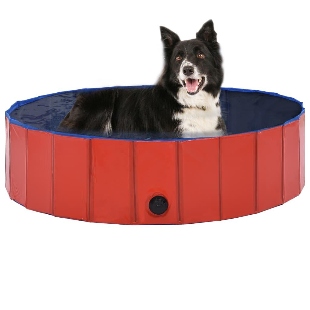 vidaXL Skládací bazén pro psy červený 120 x 30 cm PVC