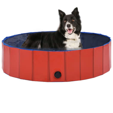 vidaXL Piscine pliable pour chiens Rouge 120x30 cm PVC[1/9]