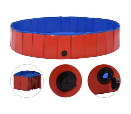 vidaXL kokkupandav koertebassein, punane, 160 x 30 cm, PVC