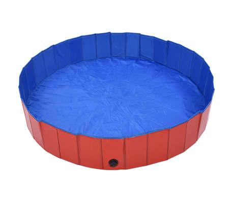 vidaXL Piscine pliable pour chiens Rouge 160x30 cm PVC[2/9]