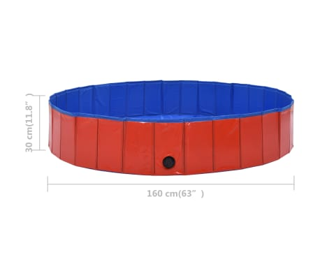 vidaXL Piscine pliable pour chiens Rouge 160x30 cm PVC[8/9]
