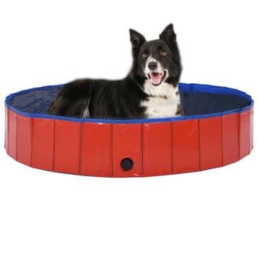 vidaXL Piscine pliable pour chiens Rouge 160x30 cm PVC[1/9]