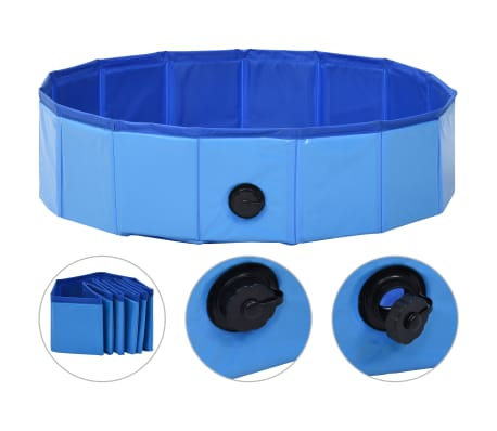"vidaXL Foldable Dog Swimming Pool Blue 31.5""x7.9"" PVC"