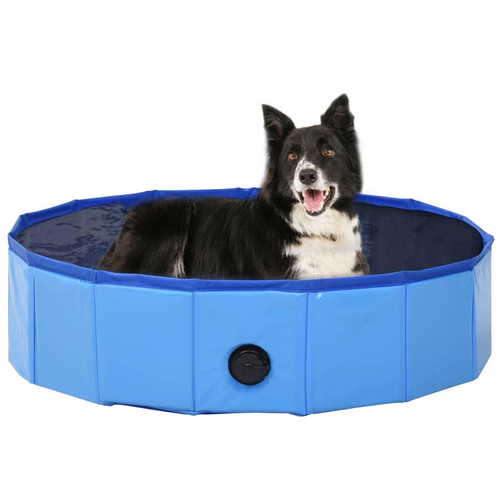 Skládací bazén pro psy modrý 80 x 20 cm PVC