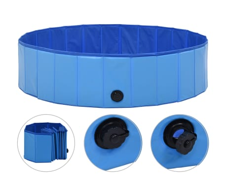 "vidaXL Foldable Dog Swimming Pool Blue 47.2""x11.8"" PVC"