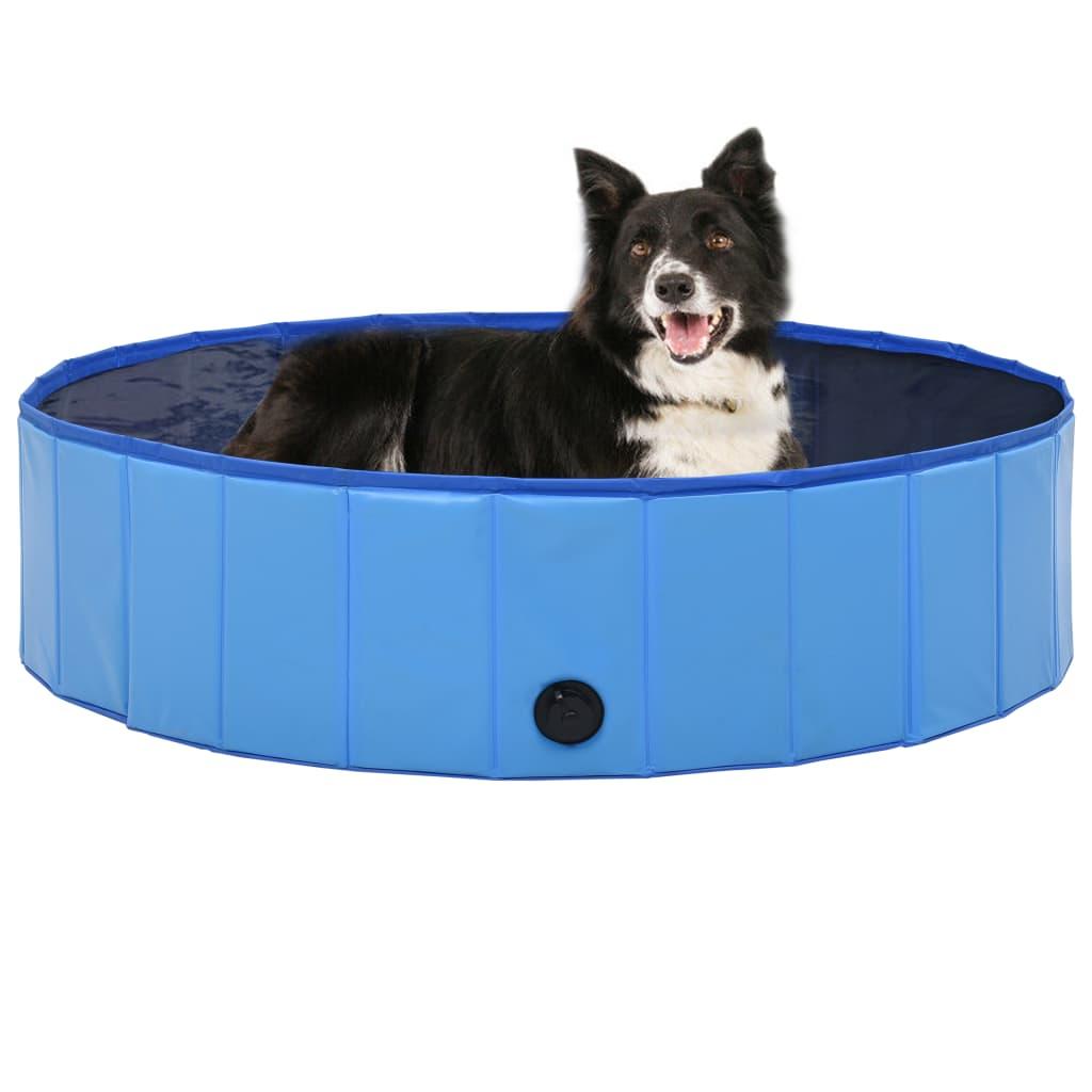 vidaXL Skládací bazén pro psy modrý 120 x 30 cm PVC