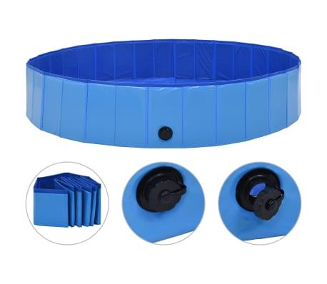 vidaXL kokkupandav koertebassein, sinine, 160 x 30 cm, PVC
