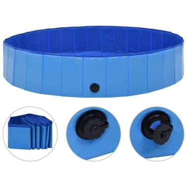 vidaXL Piscine pliable pour chiens Bleu 160x30 cm PVC[1/8]