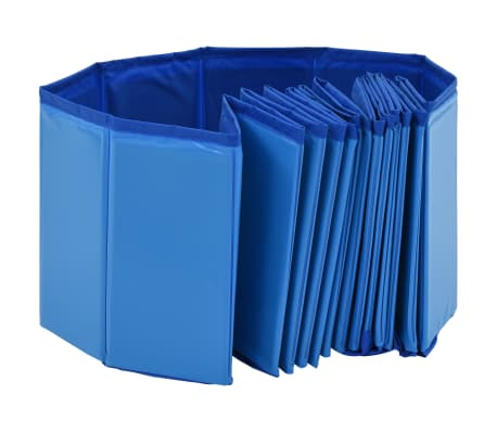vidaXL Piscine pliable pour chiens Bleu 160x30 cm PVC[4/8]