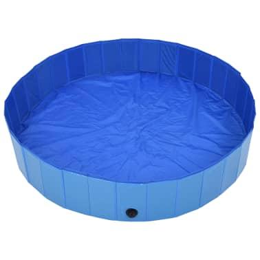 vidaXL Piscine pliable pour chiens Bleu 160x30 cm PVC[3/8]