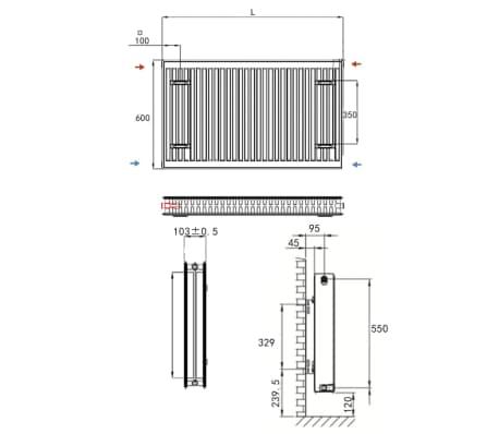 vidaXL Värmeelement sidomonterat 8 st 120x10x60 cm[7/7]