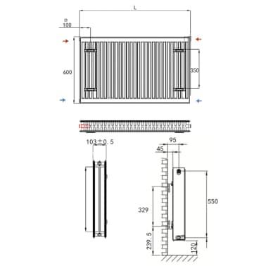 vidaXL Konvektor-Heizkörper mit Anschlüssen 8 Stk. 120 x 10 x 60 cm[7/7]