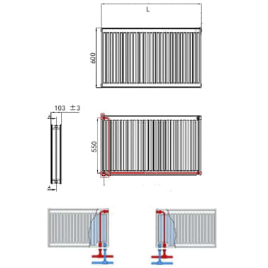 vidaXL Konvektor-Heizkörper 4 Stk. Untere Anschlüsse 120×10×60 cm[7/7]
