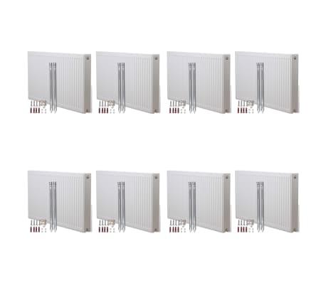 vidaXL konvektionsradiatorer bundtilslutninger 8 stk. 120 x 10 x 60 cm
