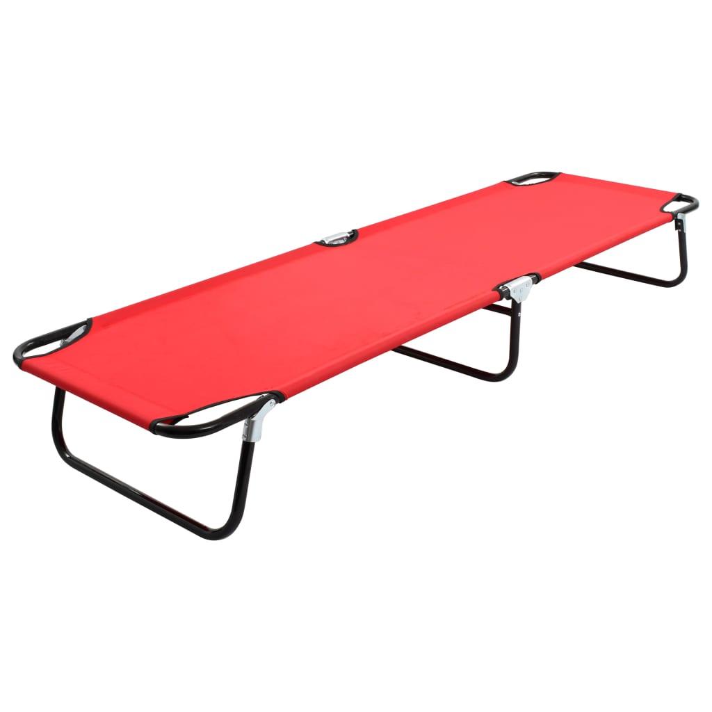 vidaXL Skládací opalovací lehátko červené ocel