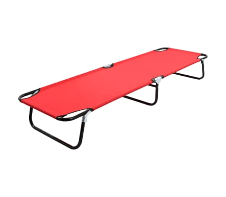 vidaXL Folding Sun Lounger Red Steel