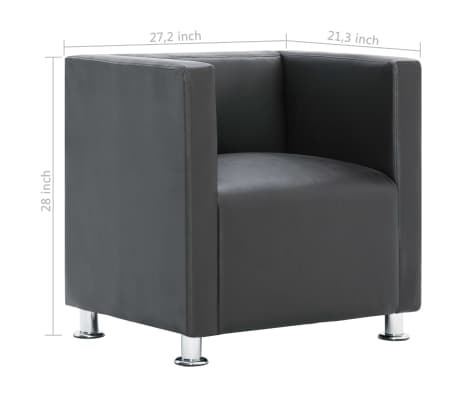 Vidaxl Cube Armchair Modern Sturdy Gray Faux Leather Home Furniture Seating Ebay