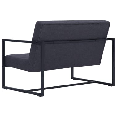 vidaXL 2-Seater Sofa with Armrests Dark Gray Steel and Fabric[5/8]