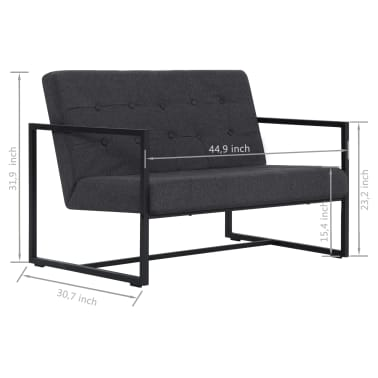 vidaXL 2-Seater Sofa with Armrests Dark Gray Steel and Fabric[8/8]