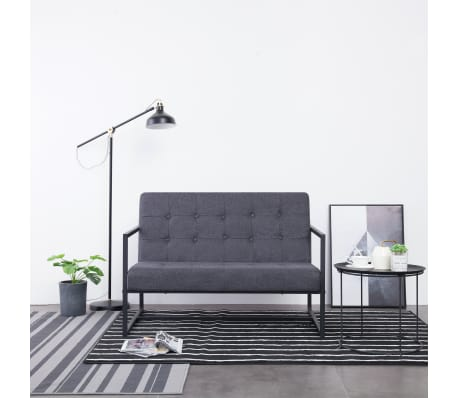vidaXL 2-Seater Sofa with Armrests Dark Gray Steel and Fabric[1/8]