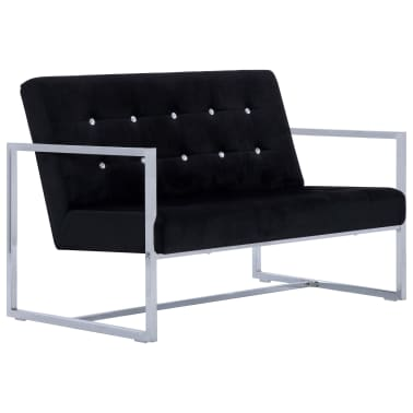 vidaXL 2-Seater Sofa with Armrests Black Chrome and Velvet[2/8]