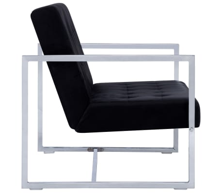 vidaXL 2-Seater Sofa with Armrests Black Chrome and Velvet[4/8]